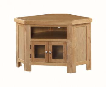 Newbridge Solid Oak 2 Doors Corner TV Unit