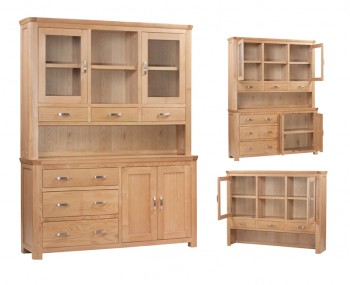 Treviso Solid Oak Curved 3 Doors Large Display Unit