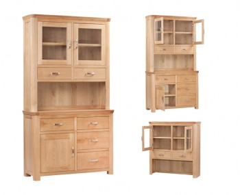 Treviso Solid Oak Curved 2 Doors Small Display Unit