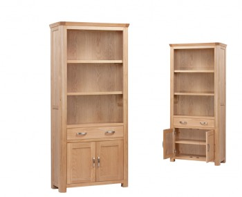 Treviso Solid Oak Curved High Bookcase