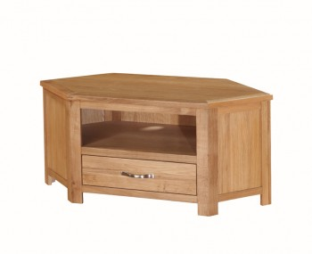 Hartford City Oak Solid Wood Corner TV Unit