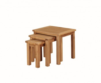 Hartford City Oak Solid Wood Nest of 3 Tables