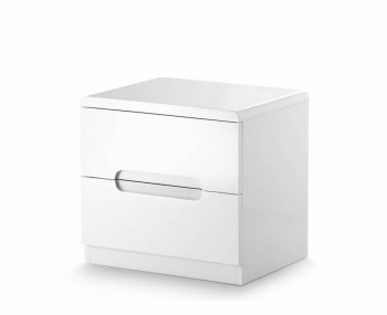 Manhattan White High Gloss 2 Drawer Bedside