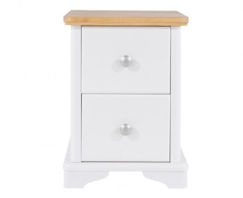 Wellington 2 Drawer White Painted & Oak Bedside Chest
