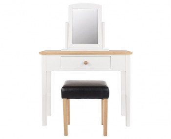 Wellington Single White Painted & Oak Dressing Table