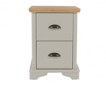 Salvador 2 Drawer Grey Painted & Oak Bedside Chest