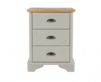 Salvador 3 Drawer Grey Painted & Oak Bedside Chest