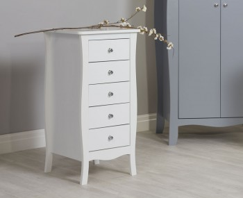 Parise White 5 Drawer Narrow Chest