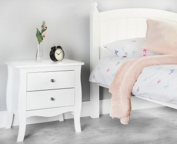 Parise White 2 Drawer Bedside Table