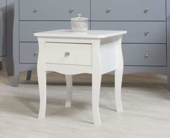 Parise White 1 Drawer Bedside Table