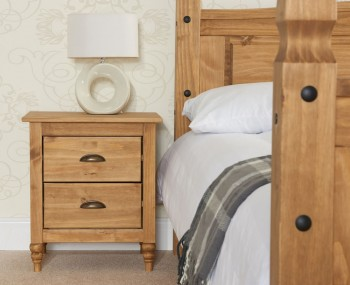 Peckinly Solid Pine 2 Drawer Bedside Table