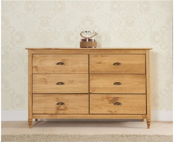 Peckinly Solid Pine 6 Drawer Wide Chest