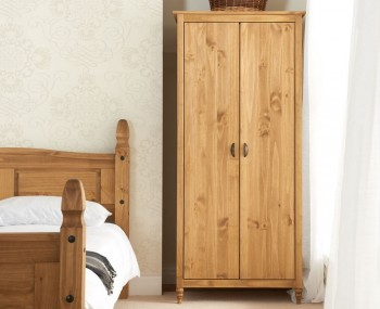 Peckinly Solid Pine 2 Door Wardrobe