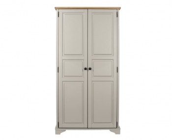 Salvador Grey Painted & Oak 2 Door Wardrobe