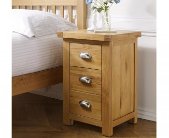 Akasey Solid Oak Large 3 Drawer Bedside Table