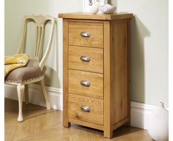 Akasey Solid Oak 4 Drawer Narrow Chest
