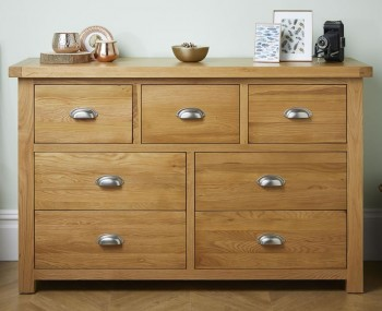 Akasey Solid Oak 4+3 Drawer Chest
