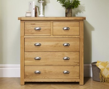 Akasey Solid Oak 3+2 Drawer Chest