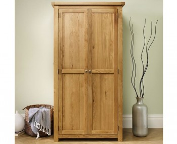Akasey Solid Oak 2 Door Wardrobe