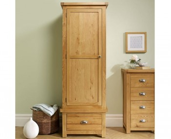 Akasey Solid Oak 1 Door 1 Drawer Wardrobe