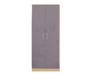 Casey Taupe Grey High Gloss 2 Door Wardrobe *Special Offer*