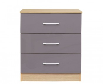 Casey Taupe Grey High Gloss 3 Drawer Chest *Special Offer*