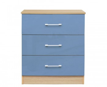 Casey Blue High Gloss 3 Drawer Chest *Special Offer*