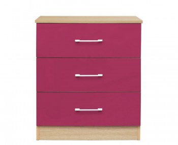 Casey Pink High Gloss 3 Drawer Chest *Special Offer*