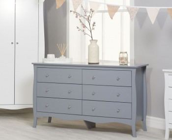 Parise Grey 6 Drawer Wide Chest
