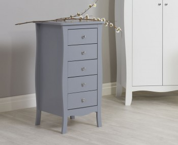 Parise Grey 5 Drawer Narrow Chest