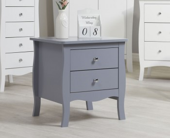 Parise Grey 2 Drawer Bedside Table
