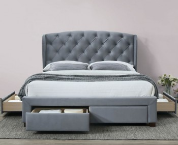 Derby Grey Velvet Winged Bed