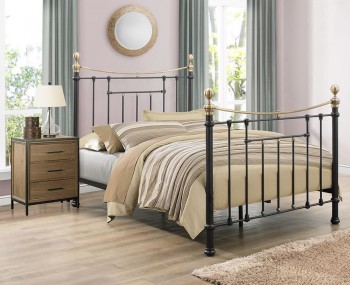 Bronx Black and Brass Metal Bed