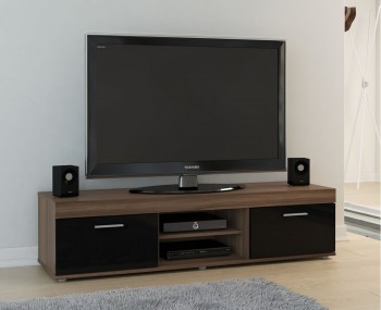 Nightingale Black and Walnut Large TV Unit
