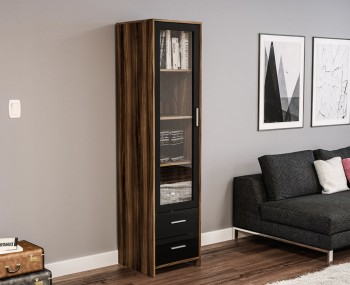 Nightingale Black and Walnut Glass Door Cabinet