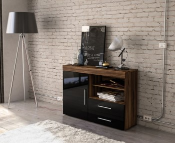 Nightingale Black and Walnut Small Sideboard