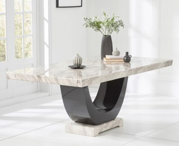 Abilio Cream and Black Marble Dining Table
