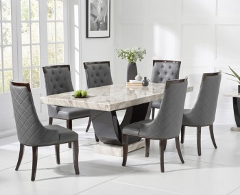 Abilio Cream and Black Marble Dining Set