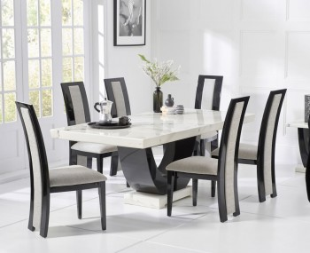 Marcio White and Black Marble Dining Set