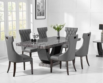 Paulo Dark Grey and Black Marble Dining Set