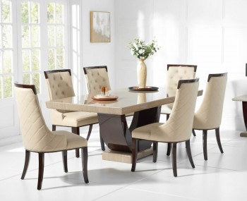 Roberto Brown Marble Dining Set