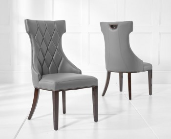 Jayena Grey Faux Leather Upholstered Dining Chair