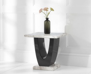Abilio Cream and Black Marble Lamp Table