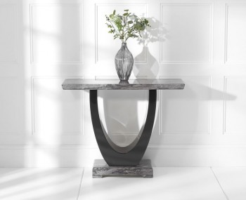 Paulo Dark Grey and Black Marble Console Table