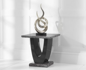 Paulo Dark Grey and Black Marble Lamp Table