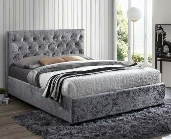 Ludwig Steel Crushed Velvet Upholstered Bed