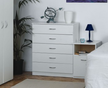 Seaford White Student 5 Drawer Chest