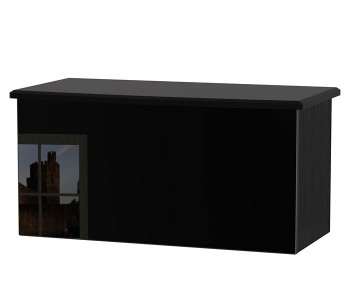 Knight Black High Gloss Ottoman