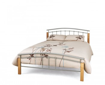 Tetras Silver Metal and Beech Bed Frame