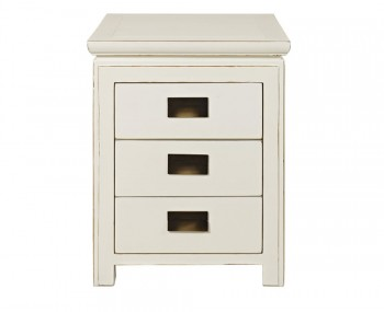 Peking 3 Drawer Off-White Lacquer Bedside Chest